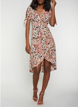 Floral Tie Sleeve Wrap Dress - 0090051066956