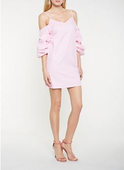 Striped Bubble Sleeve Cold Shoulder Dress - 0090054260444