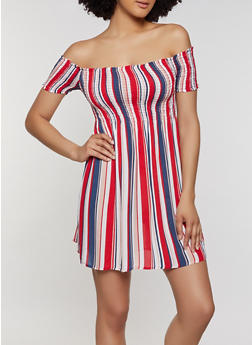 Striped Off the Shoulder Smocked Dress - 0090054260462