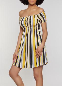 Striped Off the Shoulder Smocked Dress - 0090054260462