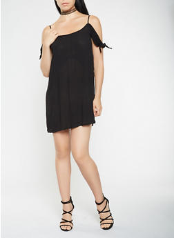 Caged Tie Sleeve Shift Dress - 0090054260537