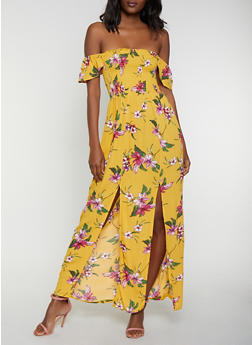 Floral Off the Shoulder Front Slit Dress - 0090054260968