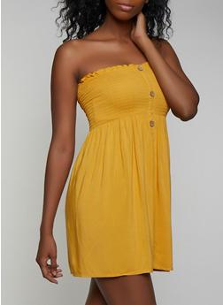Smocked Button Strapless Dress - 0090054261058