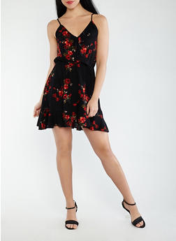 Floral Faux Wrap Dress - 0090054262485