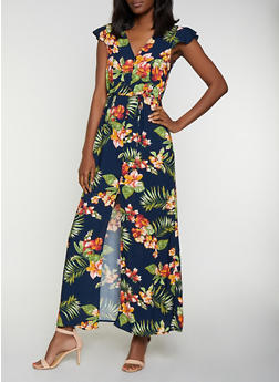 Tropical Floral Button Front Maxi Dress - 0090054265949