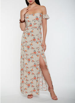 Floral Off the Shoulder Maxi Dress - 0090054268990 c799f3d74