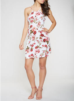 Floral Ruffle Trim Shift Dress - 0090054269960