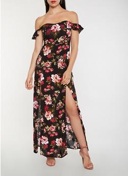 Floral Off the Shoulder Maxi Dress - 0090054269990