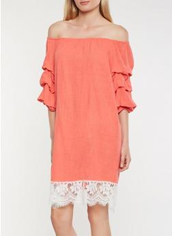 Off the Shoulder Lace Trim Dress - 0090058753636
