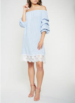 Off the Shoulder Lace Trim Dress - 0090058753636