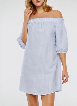 Striped Off the Shoulder Tie Back Keyhole Dress - 0090058753637