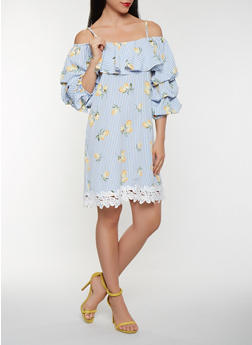 Lemon Print Off the Shoulder Dress - 0090058753642
