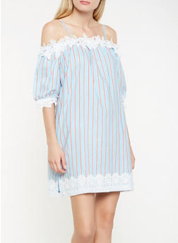 Striped Off the Shoulder Crochet Trim Dress - 0090058753643
