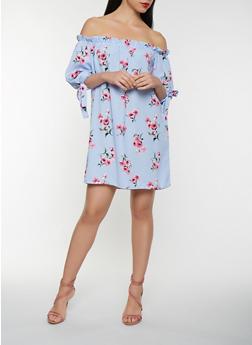 Floral Striped Off the Shoulder Shift Dress - 0090058753645