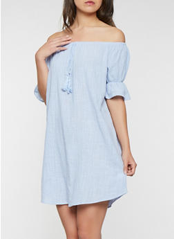 Off the Shoulder Ruffle Sleeve Dress - 0090058753657