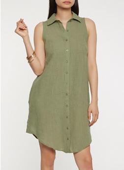 Sleeveless Linen Shirt Dress - 0090058753659