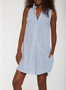 Sleeveless Linen Shirt Dress - 0090058753659