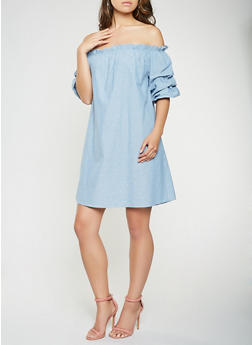 Off the Shoulder Chambray Dress - 0090058753662