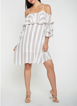 Printed Bubble Sleeve Off the Shoulder Dress - 0090058753677