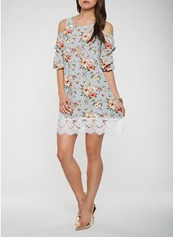 Striped Floral Cold Shoulder Shift Dress - 0090058753688