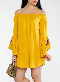 Embroidered Off the Shoulder Dress - 0090061631168