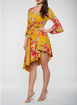 Printed Faux Wrap Bell Sleeve Dress - 0090074011031