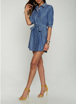 Chambray Button Front Shirt Dress - 0090074280160