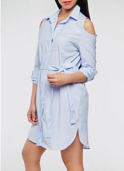 Striped Cold Shoulder Dress - 0090074280444
