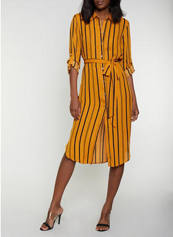 Striped Shirt Midi Dress - 0090074281187