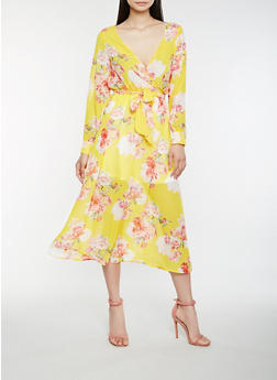 Floral Faux Wrap Midi Dress - 0090074281913