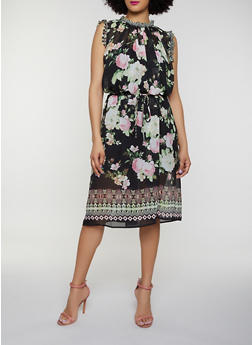 Floral Border Print Shift Dress - 0090074283107
