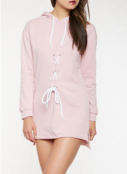 Lace Up Hooded Sweatshirt Dress - 0094015050281