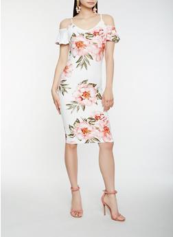 Floral Cold Shoulder Bodycon Dress - 0094015050394