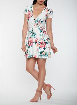 Printed Faux Wrap Dress - 0094015050442