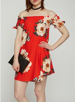 Printed Off the Shoulder Dress - 0094015050472