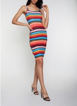 Printed Scoop Neck Tank Dress - 0094015050687