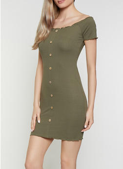 Ribbed Soft Knit Off the Shoulder Dress - 0094015050729