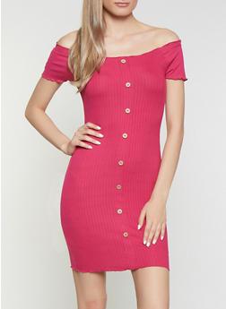 Ribbed Soft Knit Off the Shoulder Dress - 0094015050729