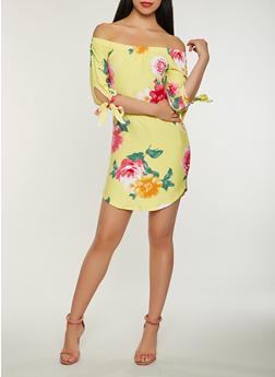 Soft Knit Floral Off the Shoulder Dress - 0094015052560