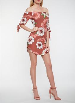 Printed Tie Sleeve Off the Shoulder Dress - 0094015055560
