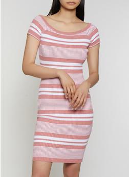 Striped Rib Knit Midi Bodycon Dress - 0094034280384