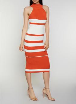 Mock Neck Striped Ribbed Knit Dress - 0094034280923