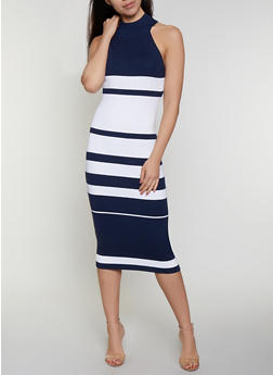 Mock Neck Striped Ribbed Knit Dress - 0094034280923