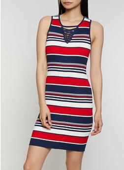 Striped Lace Up Rib Knit Tank Dress - 0094034281112