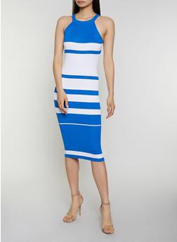 Sleeveless Striped Rib Knit Dress - 0094034281833