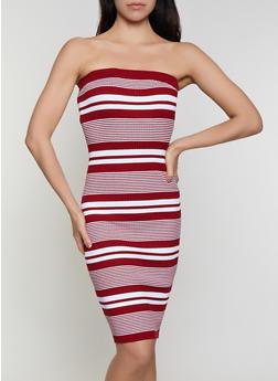 Rib Knit Striped Tube Dress - 0094034281835
