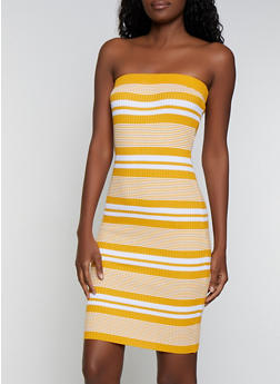Rib Knit Striped Tube Dress - 0094034281835