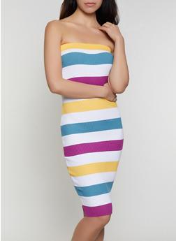 Striped Rib Knit Tube Dress | 0094034281836 - 0094034281836