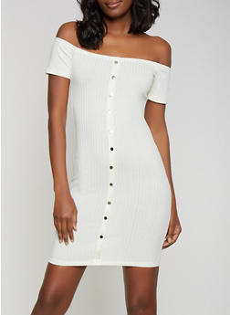 Button Off the Shoulder Bodycon Dress - 0094034284741