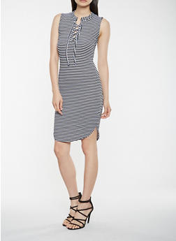 Striped Lace Up Tank Dress - 0094038348703